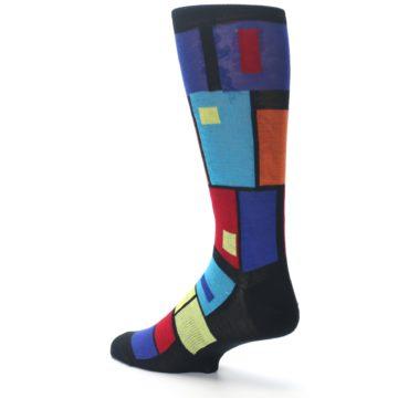 Image of Black Multi Blocks Men's Dress Socks (side-2-back-14)