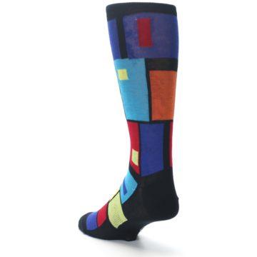 Image of Black Multi Blocks Men's Dress Socks (side-2-back-15)