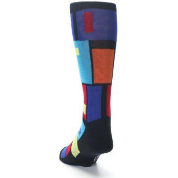 Image of Black Multi Blocks Men's Dress Socks (side-2-back-16)
