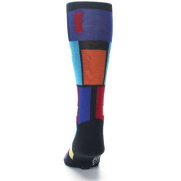 Image of Black Multi Blocks Men's Dress Socks (back-17)