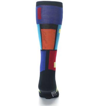 Image of Black Multi Blocks Men's Dress Socks (back-18)