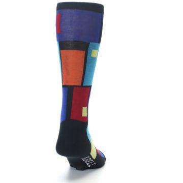 Image of Black Multi Blocks Men's Dress Socks (back-19)