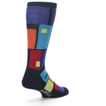 Image of Black Multi Blocks Men's Dress Socks (side-1-back-21)