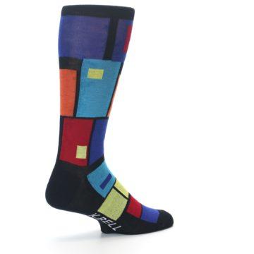 Image of Black Multi Blocks Men's Dress Socks (side-1-back-22)