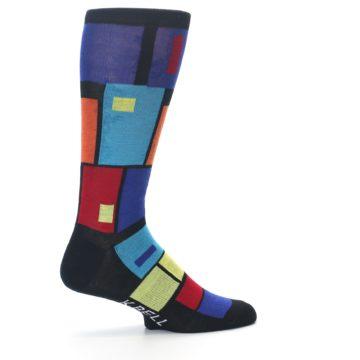 Image of Black Multi Blocks Men's Dress Socks (side-1-23)