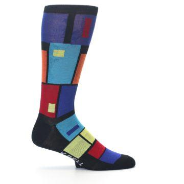 Image of Black Multi Blocks Men's Dress Socks (side-1-24)