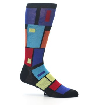 Image of Black Multi Blocks Men's Dress Socks (side-1-25)
