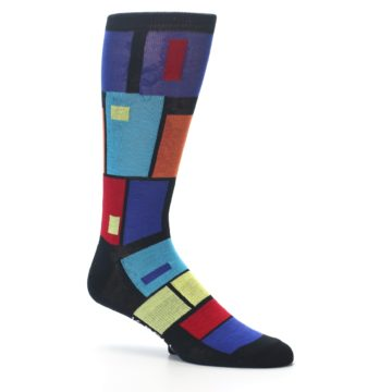 Image of Black Multi Blocks Men's Dress Socks (side-1-26)