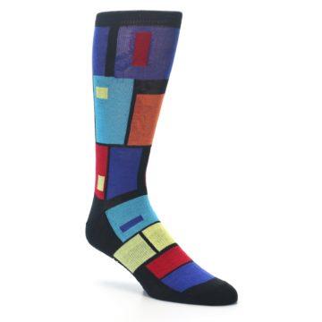 Image of Black Multi Blocks Men's Dress Socks (side-1-27)