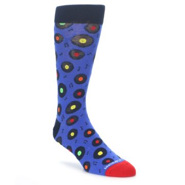 Image of Blue Multi Music Records Men's Dress Socks (side-1-front-01)
