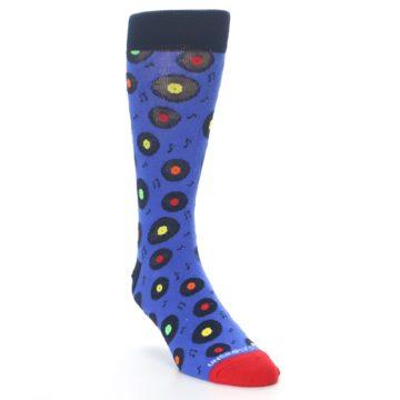 Image of Blue Multi Music Records Men's Dress Socks (side-1-front-02)