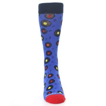 Image of Blue Multi Music Records Men's Dress Socks (front-04)
