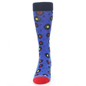 Image of Blue Multi Music Records Men's Dress Socks (front-05)