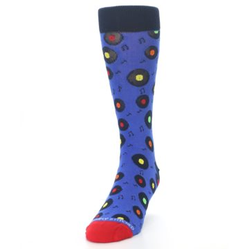 Image of Blue Multi Music Records Men's Dress Socks (side-2-front-06)