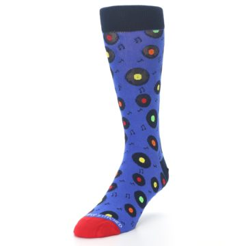 Image of Blue Multi Music Records Men's Dress Socks (side-2-front-07)