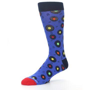 Image of Blue Multi Music Records Men's Dress Socks (side-2-09)