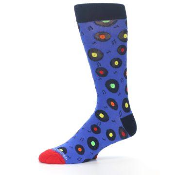 Image of Blue Multi Music Records Men's Dress Socks (side-2-10)