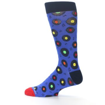 Image of Blue Multi Music Records Men's Dress Socks (side-2-12)