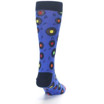 Image of Blue Multi Music Records Men's Dress Socks (back-19)