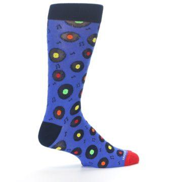 Image of Blue Multi Music Records Men's Dress Socks (side-1-23)