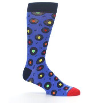 Image of Blue Multi Music Records Men's Dress Socks (side-1-25)