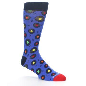 Image of Blue Multi Music Records Men's Dress Socks (side-1-26)