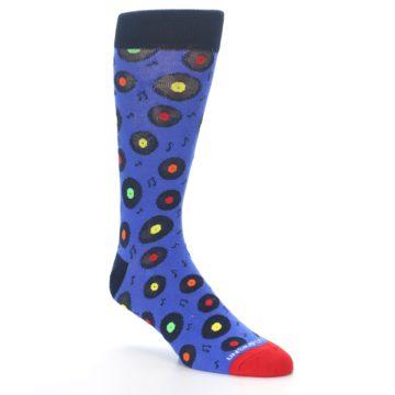 Image of Blue Multi Music Records Men's Dress Socks (side-1-27)