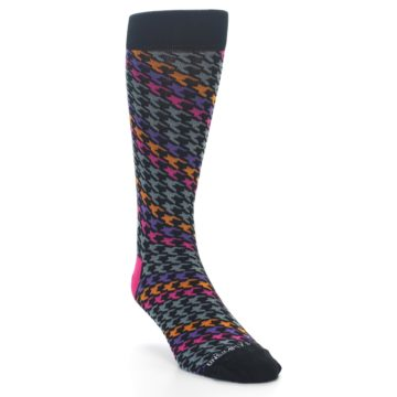 Image of Grey Pink Purple Herringbone Men's Dress Socks (side-1-front-02)