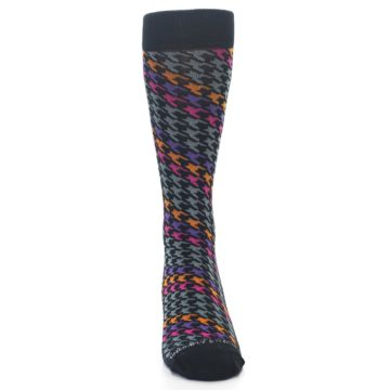 Image of Grey Pink Purple Herringbone Men's Dress Socks (front-04)
