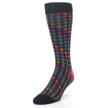 Image of Grey Pink Purple Herringbone Men's Dress Socks (side-2-front-07)