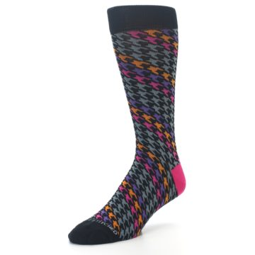 Image of Grey Pink Purple Herringbone Men's Dress Socks (side-2-front-08)