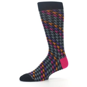Image of Grey Pink Purple Herringbone Men's Dress Socks (side-2-10)
