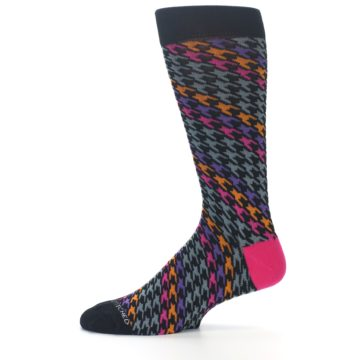 Image of Grey Pink Purple Herringbone Men's Dress Socks (side-2-11)
