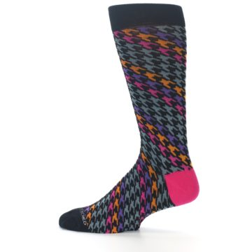 Image of Grey Pink Purple Herringbone Men's Dress Socks (side-2-12)