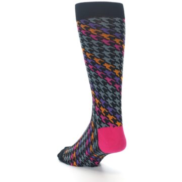 Image of Grey Pink Purple Herringbone Men's Dress Socks (side-2-back-15)