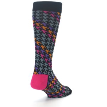 Image of Grey Pink Purple Herringbone Men's Dress Socks (side-1-back-20)