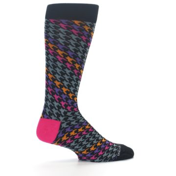 Image of Grey Pink Purple Herringbone Men's Dress Socks (side-1-23)