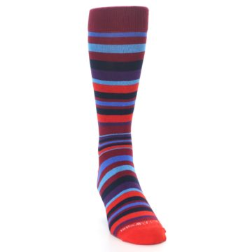 Image of Reds Purple Stripe Men's Dress Socks (side-1-front-03)