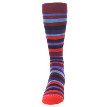Image of Reds Purple Stripe Men's Dress Socks (front-05)