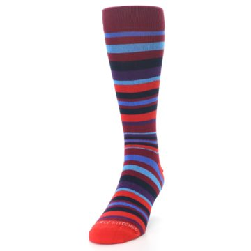 Image of Reds Purple Stripe Men's Dress Socks (side-2-front-06)