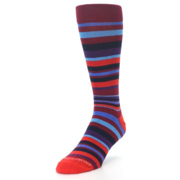 Image of Reds Purple Stripe Men's Dress Socks (side-2-front-07)