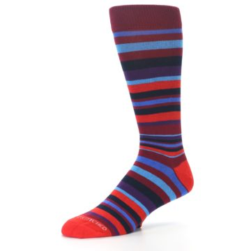 Image of Reds Purple Stripe Men's Dress Socks (side-2-09)