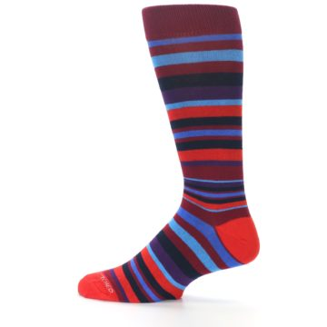 Image of Reds Purple Stripe Men's Dress Socks (side-2-12)