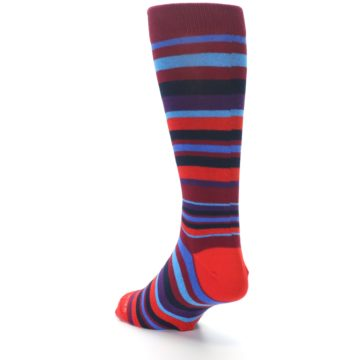 Image of Reds Purple Stripe Men's Dress Socks (side-2-back-15)