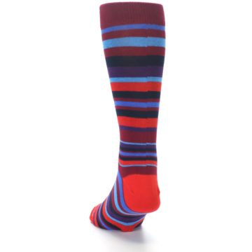 Image of Reds Purple Stripe Men's Dress Socks (side-2-back-16)