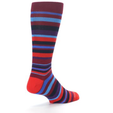 Image of Reds Purple Stripe Men's Dress Socks (side-1-back-21)