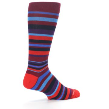 Image of Reds Purple Stripe Men's Dress Socks (side-1-back-22)