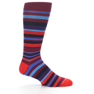 Image of Reds Purple Stripe Men's Dress Socks (side-1-24)