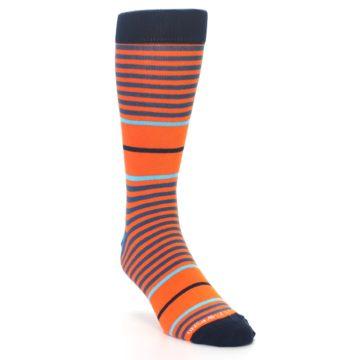 Image of Orange Blue Stripe Men's Dress Socks (side-1-front-02)