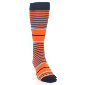 Image of Orange Blue Stripe Men's Dress Socks (side-1-front-03)